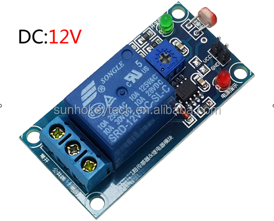 12V photo resistor plus relay module (A light detection) operated switch Search light module FC-13