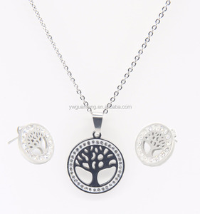 classic life tree pandantr color steel women jewelry set