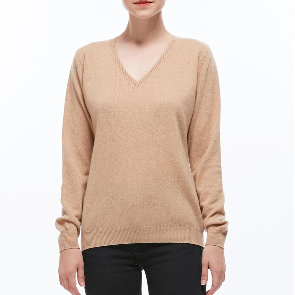100% cashmere women basic V neck sweater pullover фото