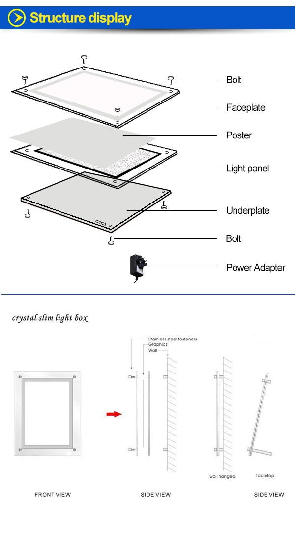 Real Estate Led Window Display A4 Light Pocket Led Crystal Light ...