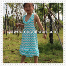 wholesale aqua chevron stripes maxi princess dresses for kids bridal dresses