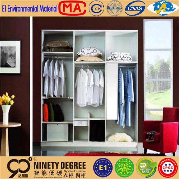 household appliance wardrobe in bedroom with hanging rods