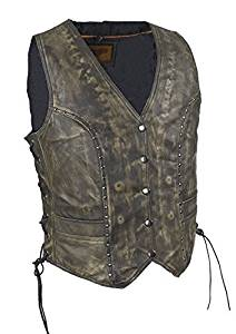 Womens Brown Studded Leather Vest with Gun Pockets (Size 4XL, 4X, XXXX-Large, 48)