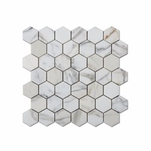 Hot Sale Hexagon Calacatta Gold White Marble Mosaic For Wall Panels