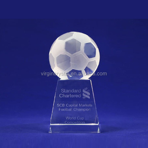 High quality small cheap blank clear crystal football award trophy for sports souvenir