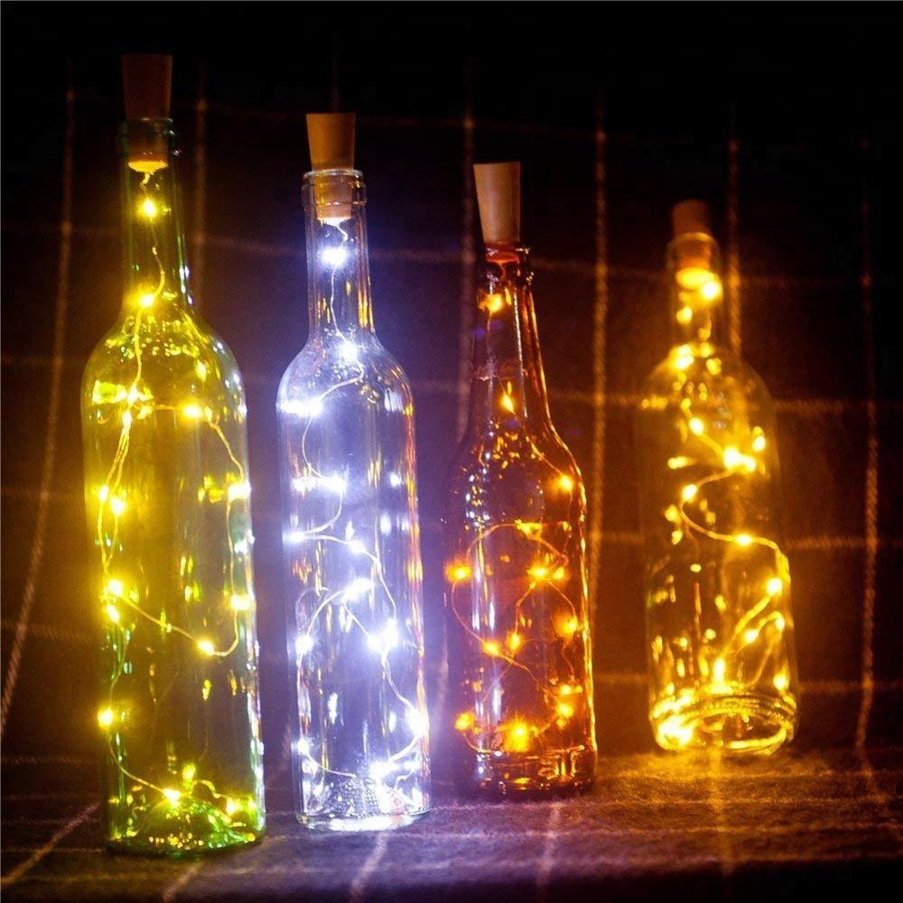 Super Bright  Fully Waterproof Custom hot LED champagne string lights cork solar wine led bottle lights