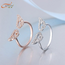 Fashion wedding white diamond angel wings cheap engagement ring
