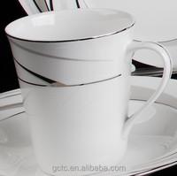 European style luxurious bone china coffee mug with streamline design