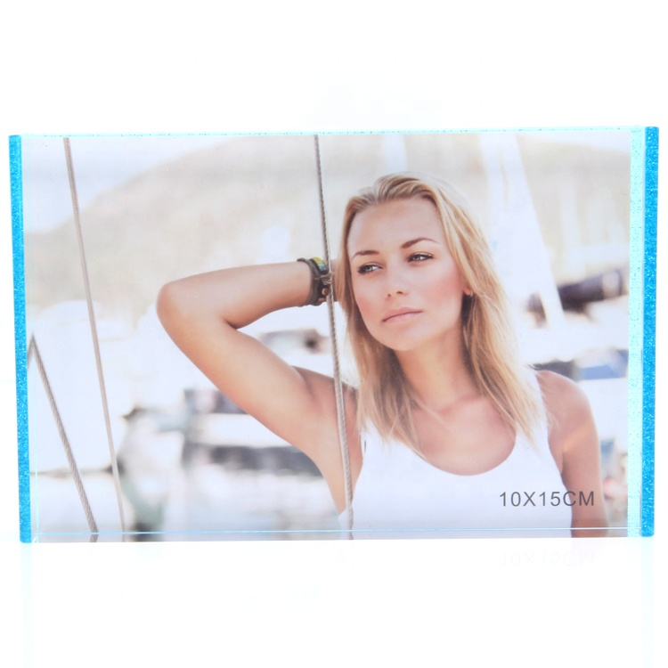 Hot Sale Rectangle Neon Blue Acrylic Glitter Photo Frame/Picture Frame