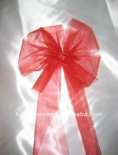 Sheer red crystal organza butterfly-tie for the wedding chair decoration/organza tulle fabric bowknot.