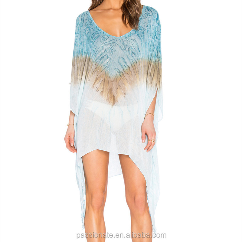 Semi sheer fabric asymmetric hem v neck cover ups