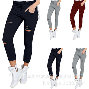 L3640A New Stylish Fashion Casual Ladies Women's Multicolor Plus Size Ripped Skinny Leggings Pants
