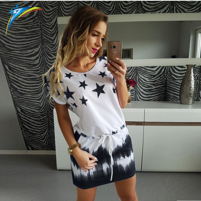2017 spring summer star printed <strong>dress</strong> short sleeve women ladies fashion casual <strong>dress</strong>