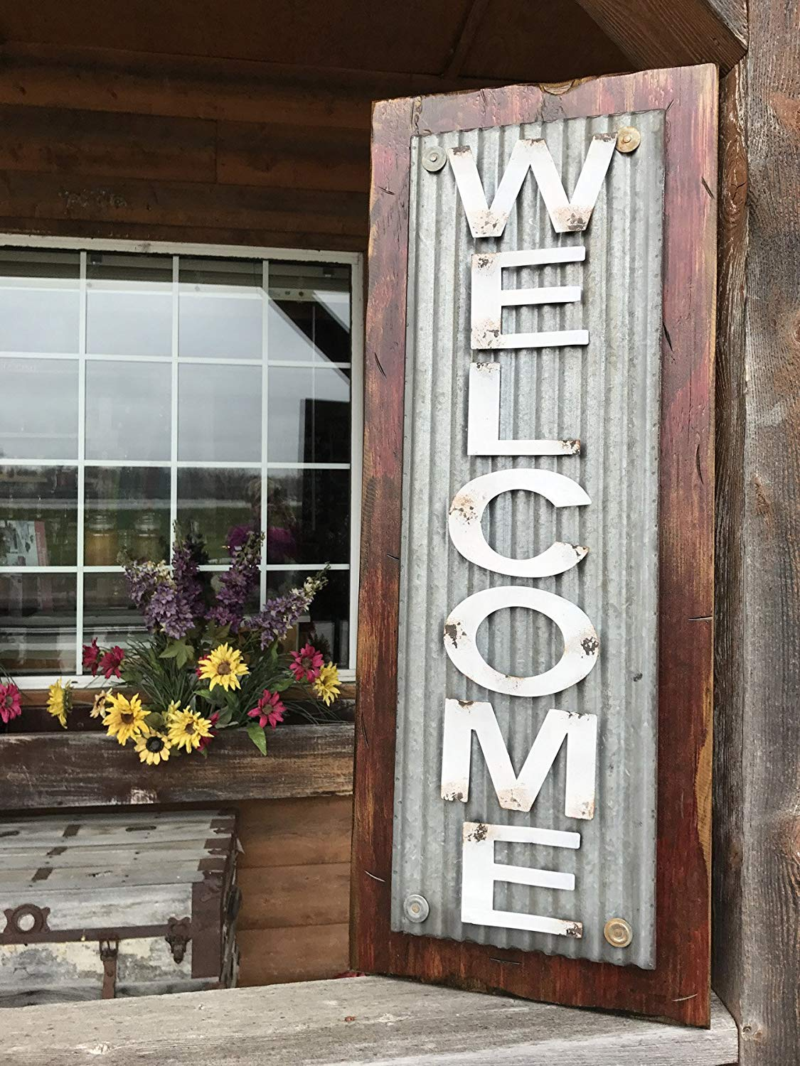 "WELCOME SIGN Vertical for Home *Rustic Metal Tin Welcome on Distressed Wood *Antique Red White or River Rock Blue Gray *36"" LARGE XL *Inside *Outside *Great in Entryway, Porch, By Front Door"