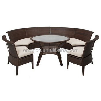 Semi Circle Sectional 6 Seater Armless Chairs Dining Set Rattan Garden  Furniture