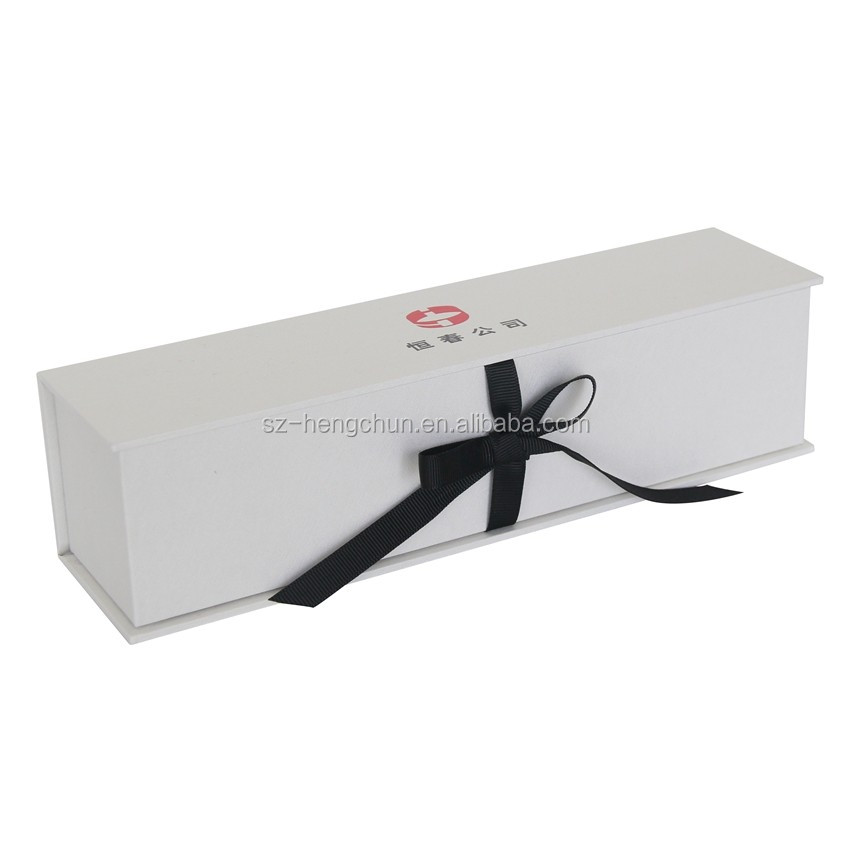 Elegant white foldable necklace paper gift box with black ribbon supplier