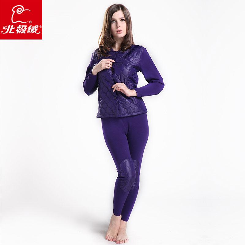 Шерсть двойной слой марка женщины тепловой нижнее белье большой бархат леди кальсоны кардиган зима одежда комплект
