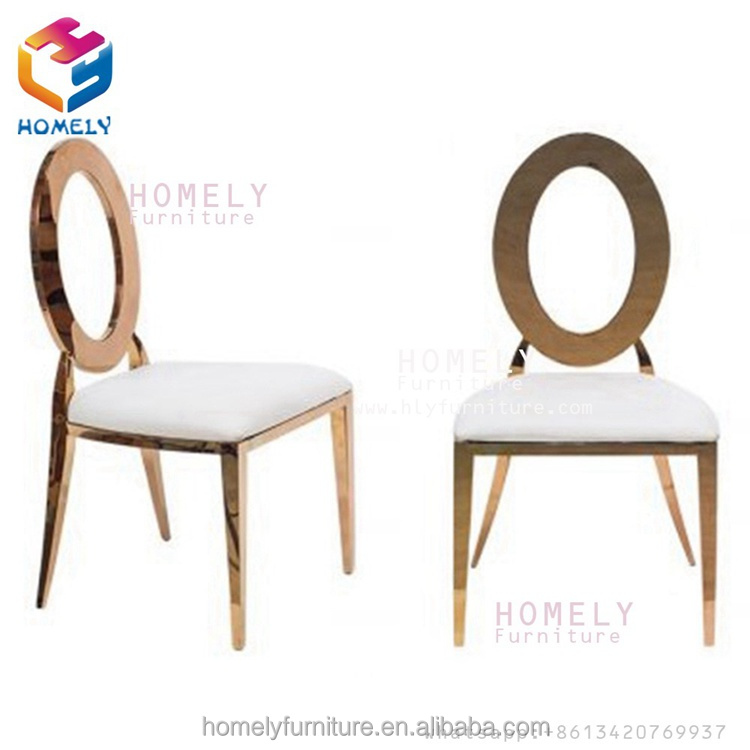 hotel hall party banquet wedding feast rose gold white zero round back wholesale new design stainless steel chair