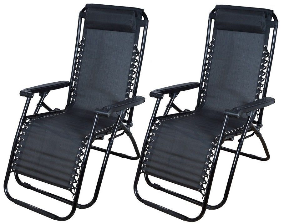 2 Outdoor Zero Gravity Lounge Chair &Beach Patio Pool Yard