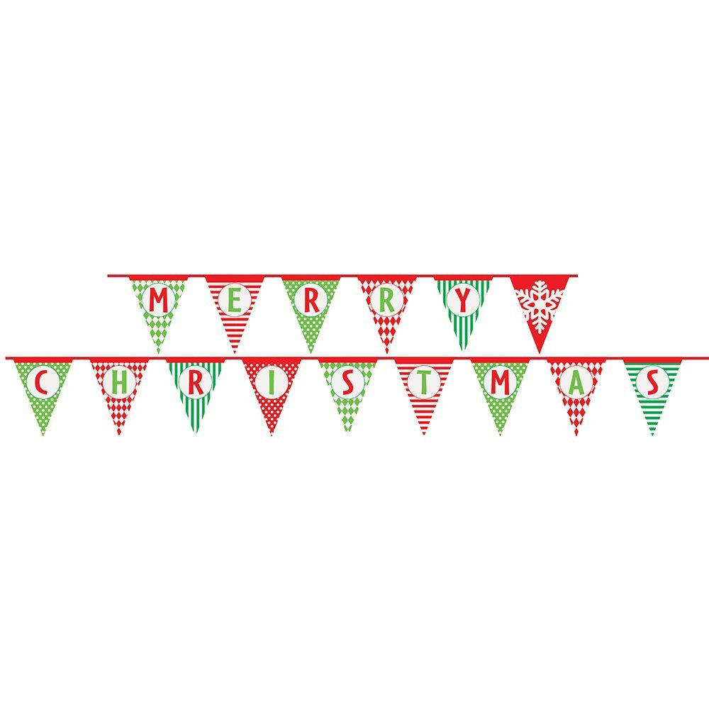 14ft Paper Patterned Merry Christmas Pennant Banner