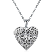 925 Sterling Silver Materials Vintage Hollow Out Filigree Love Heart Photo Locket Pendant Necklace Mother's Day Gifts