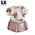 SK Size 3 7T Girls Clothes Summer 2016 Baby Girls Pink Cute Minnie Lace Clothing Sets