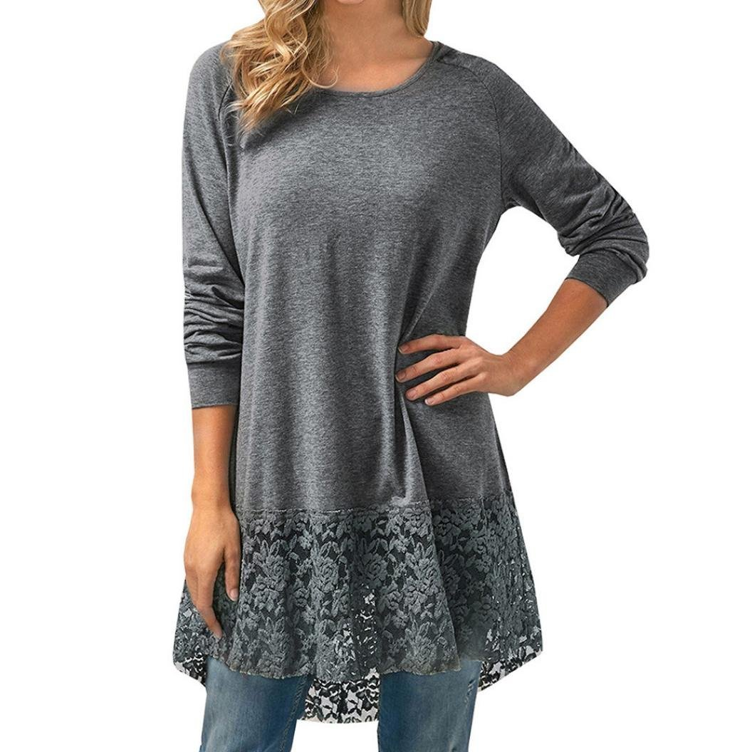 Clearance ! Women Dress, ღ Ninasill ღ Lace Long Sleeve Trim Hem Hoodie High Low Loose Tunic Tops Blouse (XS, Gray)