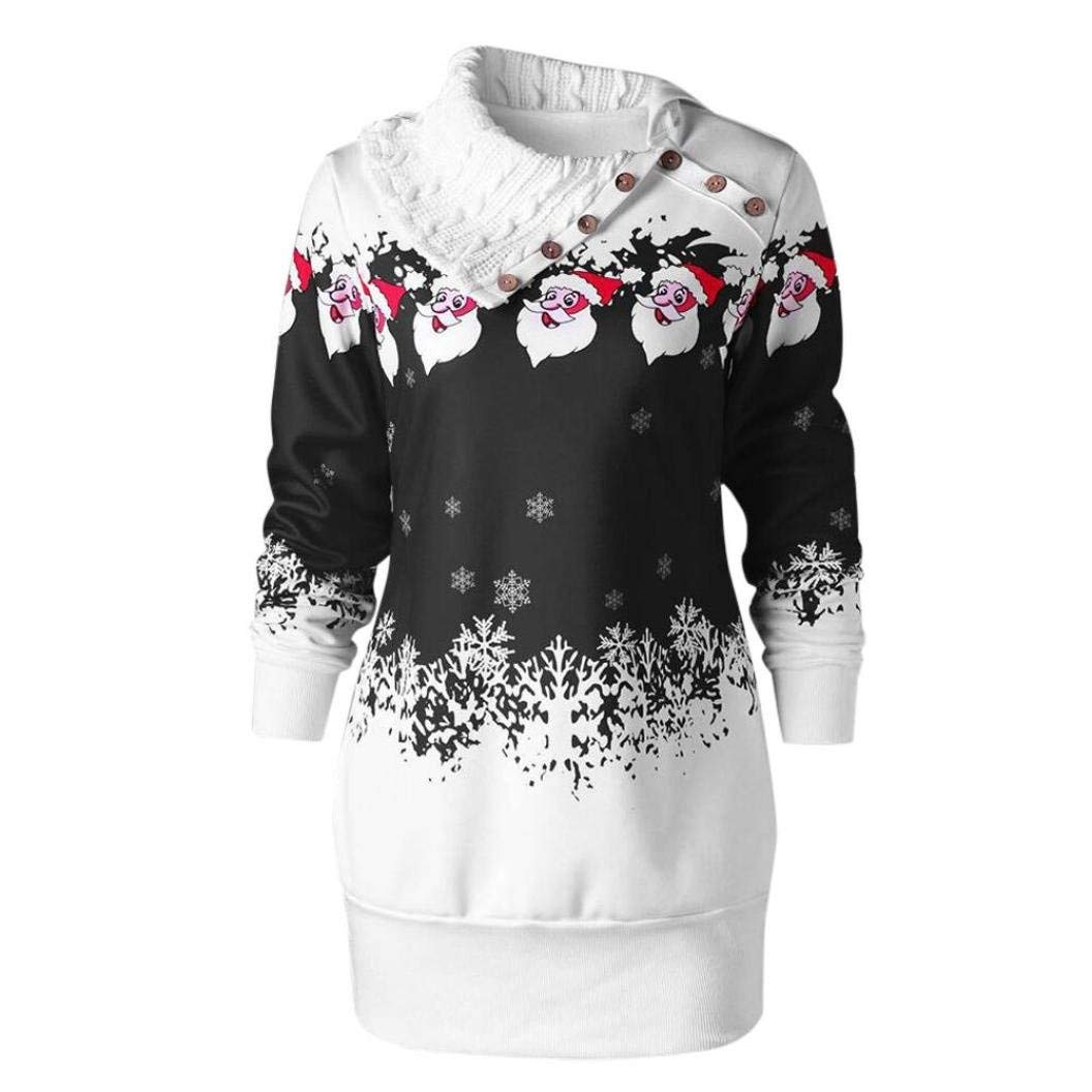 a022b4bd8f770 Get Quotations · Tsmile Womens Dress Plus Size Christmas Santa Claus  Snowflake Print Dress Fashion Tunic Button Sweater Mini