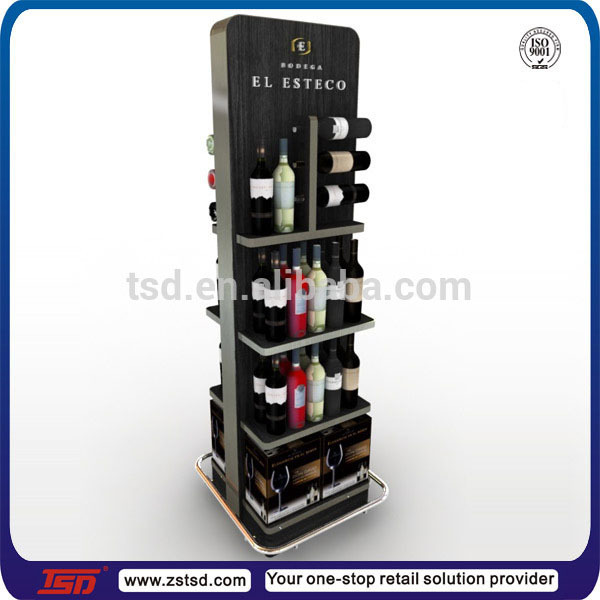 Tsd M542 Custom Free Standing Floor Metal Display Rack For Wine Liquor Bottle Shelf Stand