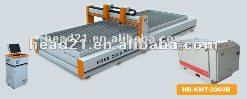 glass water jet cutting machine 2000mm*6000mm cutting table and 380Mpa KMT Jetline 50HP pump