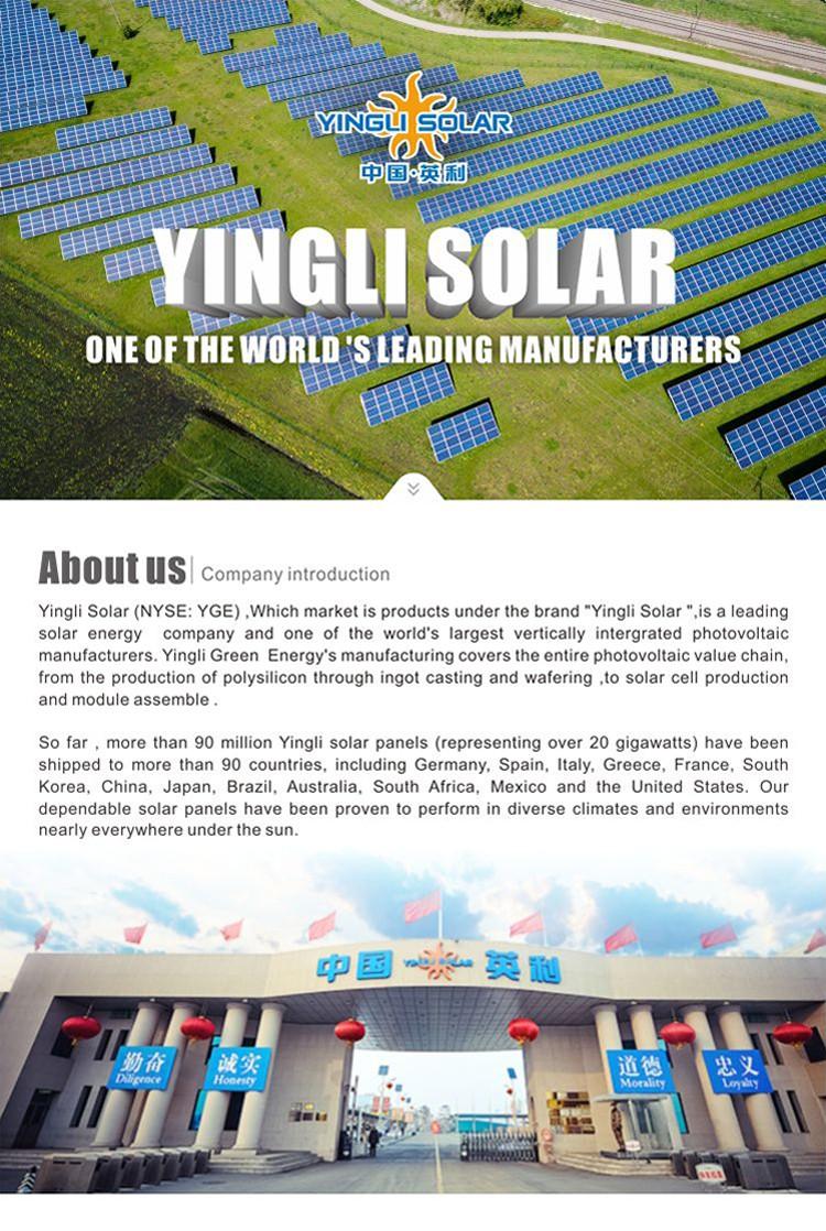 YINGLI 50MW World biggest Bifacial Panda mono PV panel for