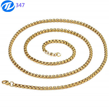 Square Rolo Chain Necklace for Men Women Gold/Black Stainless Steel Box men gold chains