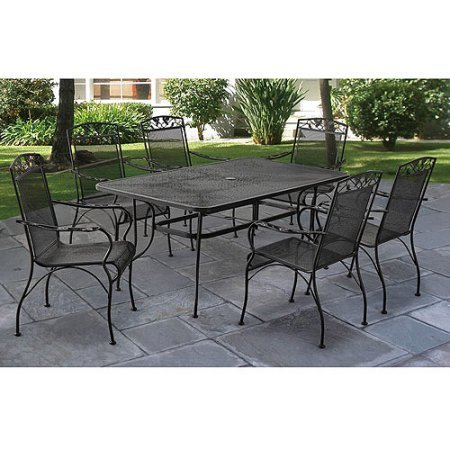 7-Piece Patio Dining Set, Sturdy & Low Maintance, Wrought Iron Seats 6, Black Finish, Rectangular Mesh Top Table, Outdoor Garden Furniture, Bundle with Expert Guide for Better Life