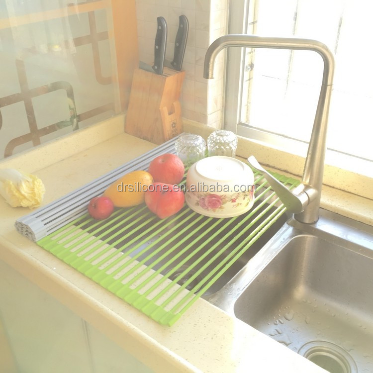 Kitchenware multi-functional fruit and vegrtable over the sink silicone folding roll-up dish drying rack dish drain rack