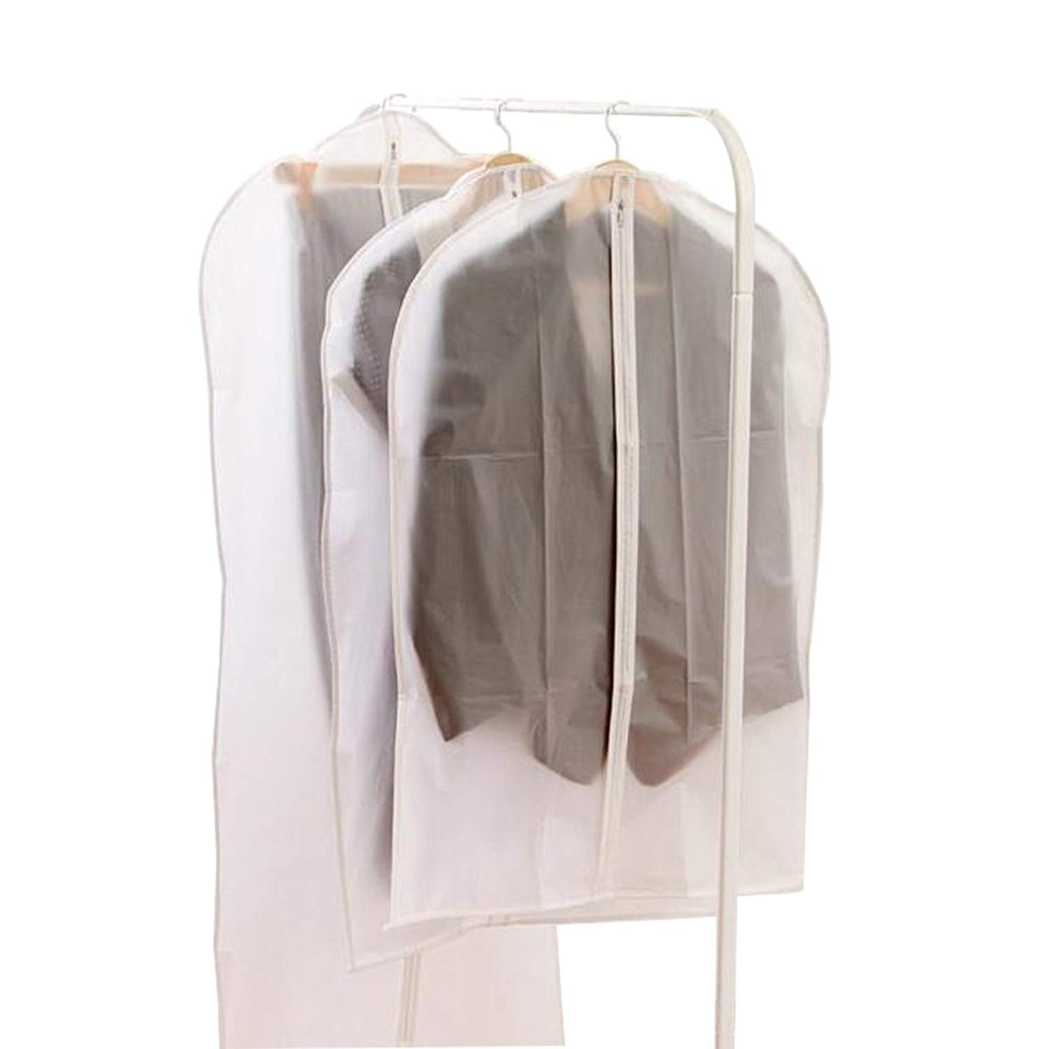 Garment Bag Clear Long Suit Bag Dust Moth Proof Garment Bags White Breathable Full Zipper Dust Cover for Dance Dress Clothes 24in 34in / 40 in / 49 in, Each 2 pieces