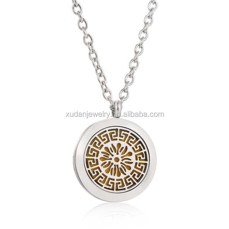 30mm 아로마 Diffuser 펜 던 트 Necklace, 아로마 테라피를위한 로켓 Necklace Jewelry, 316 L Stainless Steel 에센셜 Oil Diffuser