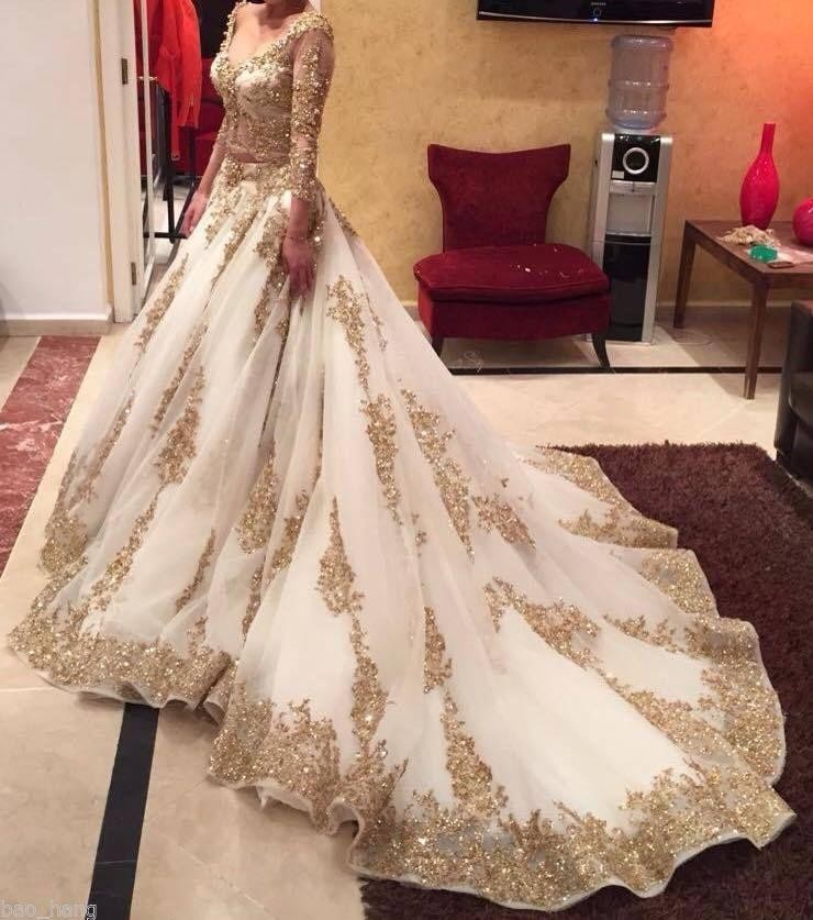 2016 Luxury Two Pieces Indian Wedding Dresses White Gold