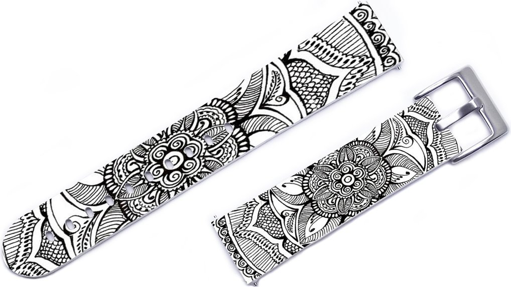 Lg G Watch R Smartwatch Band Leather,22mm Leather Watch Strap Band For Lg Urbane W100 W150 W110 G R/Pebble Time Classic Steel 2/Gear S3 Classic/Frontier/Asus Zenwatch 1 2 Grey Floral Floral Print