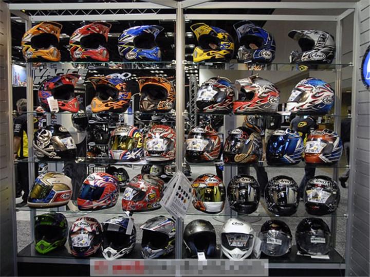 custom brand store fancy modern glass and metal motorcycle helmet display stands for motorcycle. Black Bedroom Furniture Sets. Home Design Ideas