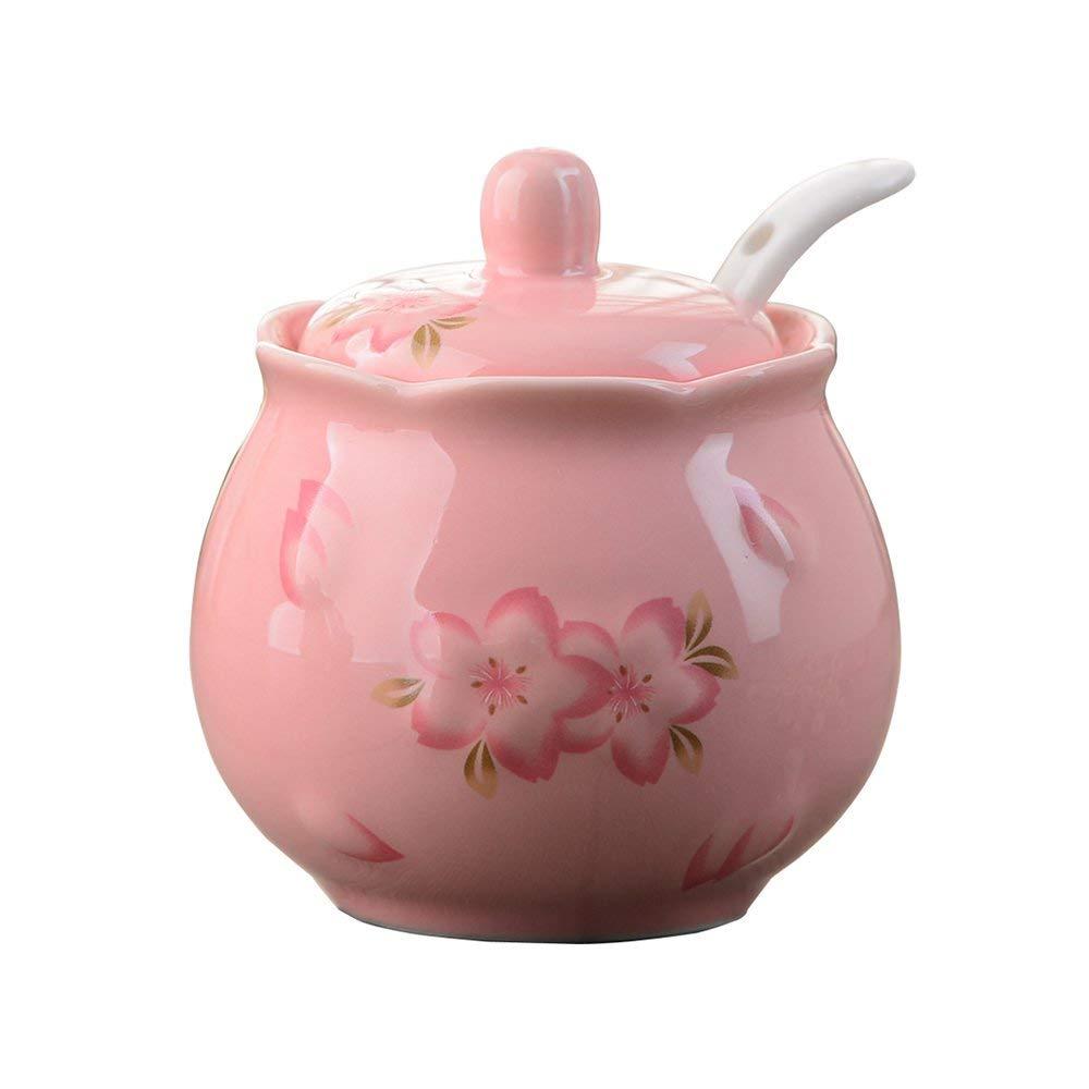 CHOOLD Cherry Blossom Embossed Ceramic Spice Jar with Lid Spoon,Sakura Seasoning Box Condiment Pots Spice Racks 7oz