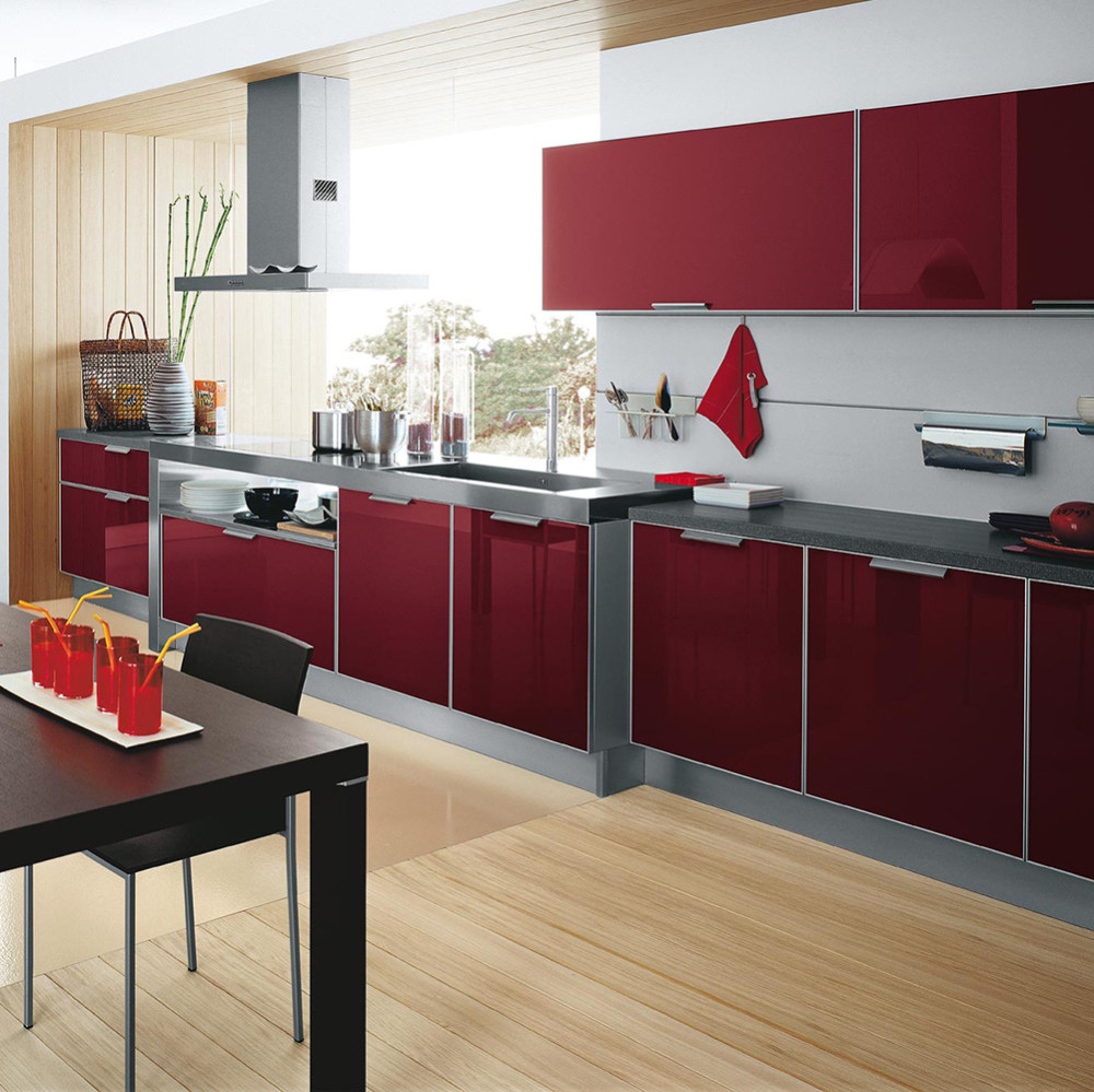 High Gloss Kitchen Island: High Gloss Red Uv Kitchen Cabinet Doors