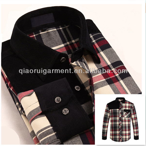 OEM Mens Heavy Winter Shirt Fashion Corduroy Patched Flannel Casual Shirts