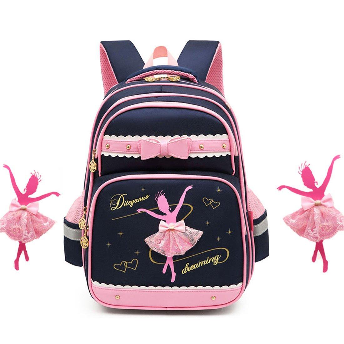 Debbieicy Cute Ballet Dance Girl Waterproof Backpack Princess School Bag for Girls