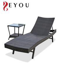 Swimming Pool Foldable Wicker Sun Lounger Brown PE Rattan Day Bed Furniture