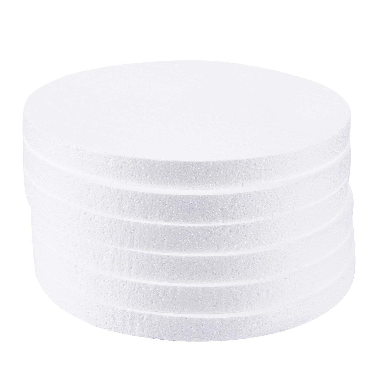 Craft Foam Circle - 6-Pack Polystyrene Foam Disc Foam Round for Sculpture, Modeling, DIY Arts and Crafts - White, 12 x 12 x 1 inches