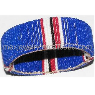 New Fashion Men Maasai Wide Pattern Glass Bead Bangles Bracelet - Blue Red & White