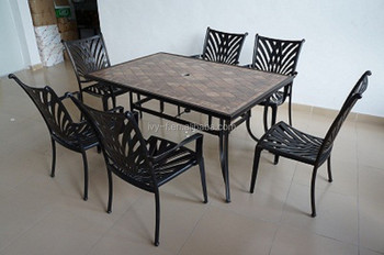 Outdoor Ceramic Dining Table And Chair In Patio Sets