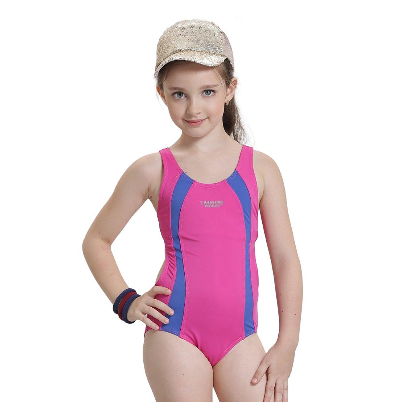 c34ec71eca Girls  Solid Splice Athletic One-Piece Swimsuits Kids Swimwear For 2-14  Years