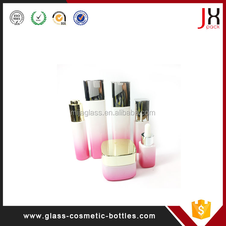 Cylinder Skin Care Bottle,Newest Design 40ml 50ml 30ml 120ml Black/Pink/Gold Cosmetic Lotion Glass Bottle /Jar