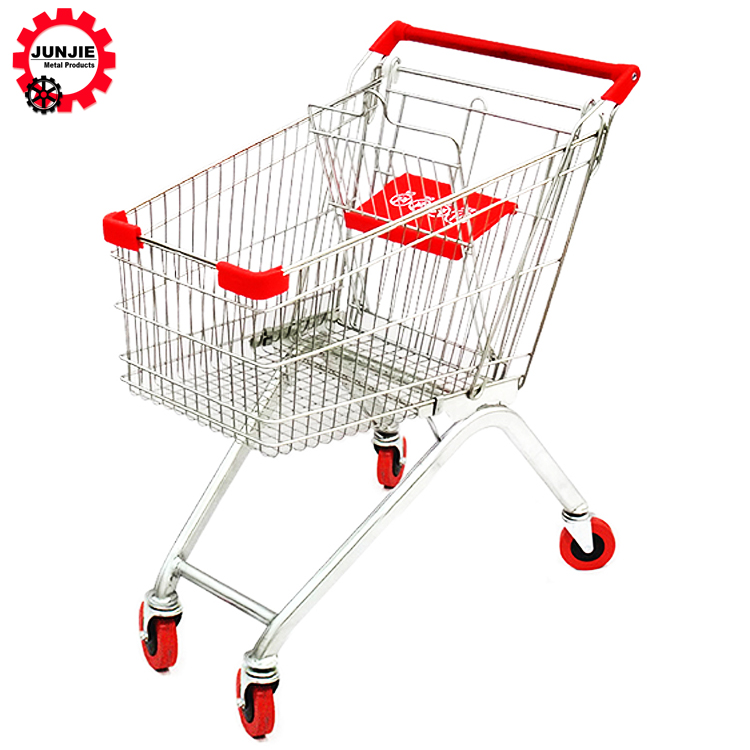 100L European Style Supermarket Shopping Trolley Cart With Baby Seat